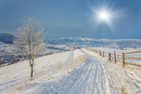 mountin: Winter landscape. Winter road and trees covered with snow Stock Photo