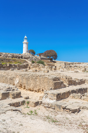 The ancient amphitheater in Paphos. Old lighthouse in Pafos, Cyprus