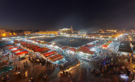 Night view of Djemaa el Fna, a square and market place in Marrakeshs medina quarter
