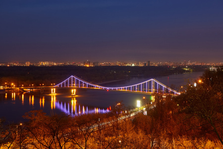 Kiev City, landscape, view of the bridge from above. Beautiful views of the Dnipro River, Texture clouds and foliage. Stock Photo