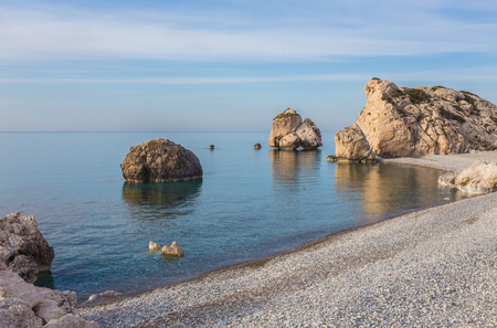 Aphrodite Beach on a sunny day. Paphos. Cyprus Stock Photo