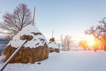 Fantastic morning mountain landscape. Overcast colorful sky. Carpathian, Ukraine, Europe Beauty world