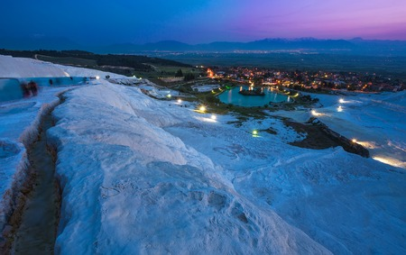 Pamukkale is an amazing natural site with white travertine terraces in the province of Denizli, Turkey Stock Photo