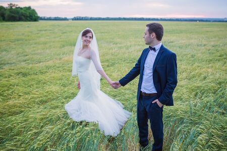 young bride and groom on the background of the field Archivio Fotografico