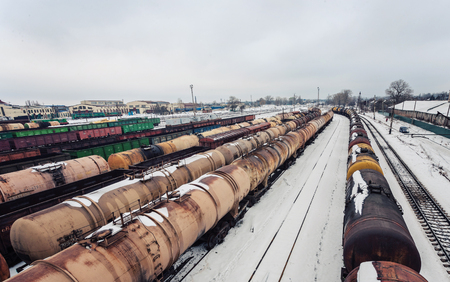 Commodity cars on rails. The top view Stock Photo
