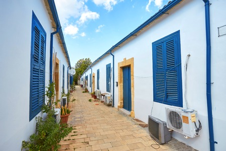 Sidi Bou Said. Tunisia. Houses and streets of the magical blue and white city. view of the facade of the house. windows and doors Reklamní fotografie