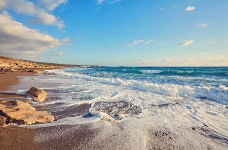The rocky coast of the island of Cyprus Stock Photo