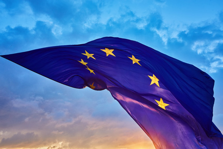 The worlds largest flag of the European Union in the sky, during sunset Stock Photo