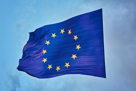 The worlds largest flag of the European Union in the sky, during sunset 版權商用圖片