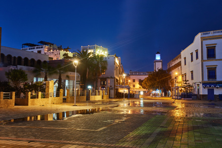 Old shopping street in Medina at the evening, Essaouira, Morocco Stock Photo