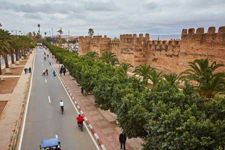 Morocco - Taroudant old medieval defensive wall and palms alley Banco de Imagens