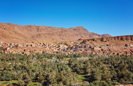 wide landscape and village in dades valley, Morocco Africa Stock Photo