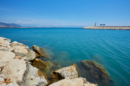 Lighthouse on the Finikie embankment, Antalya district, Turkey Stockfoto