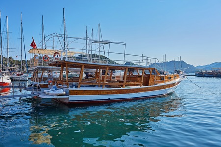 City dock of boats. Marine parking of boats and yachts in Kekova is a sunken city in Turkey.