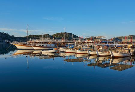 Berth of yachts in the Mediterranean Sea Imagens