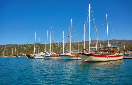 Boats and yachts, near Kekova island, Turkey Stockfoto