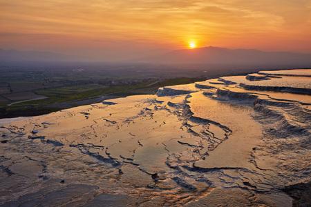 Landscape of pamukkale, turkey. Sunset at pamukkale Turkey
