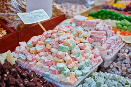 Turkish traditional sweets, rahat lukum in counter in the Grand Bazar market, Istanbul