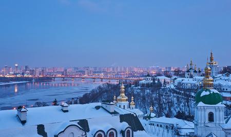 Kiev-Pechersk Lavra in winter, evening view, Kyiv, Ukraine Reklamní fotografie