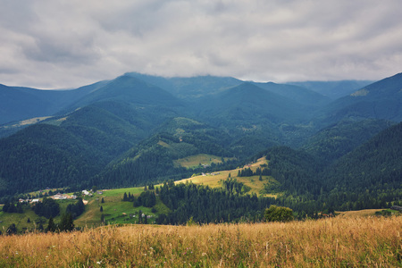 mountainous landscape with forested hills. beautiful summer scenery on a cloudy day Stock Photo