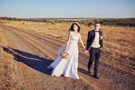 The bride and groom go through the field hand in hand. Happy bride and groom holding hands and walking in field on wedding day.