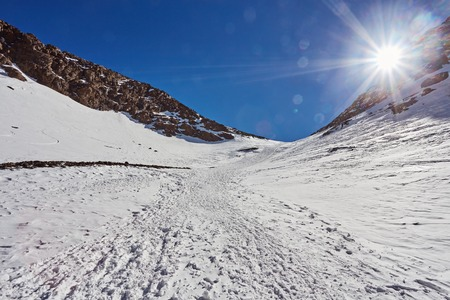 The trail for climbing Toubkal the highest mountain of the Atlas Mountains, Morocco