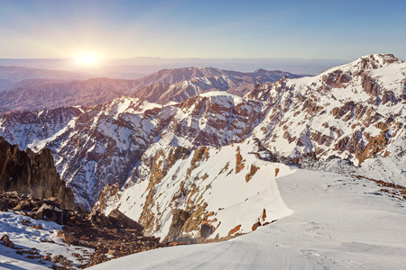 Toubkal - highest mountain peak of Atlass mountains Morocco, Africa