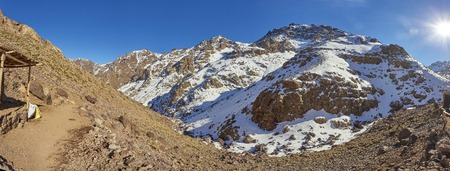 Refuge Toubkal Les Mouflons , Douar Aremd, Imlim, Morocco. Refuge du Toubkal in snow view from the top.