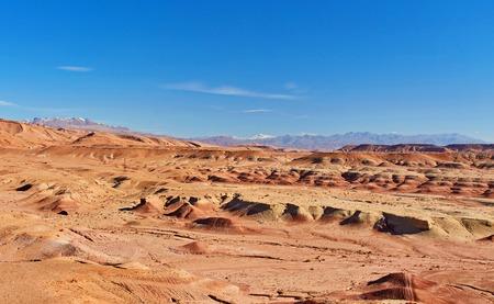 Desert landscape with Atlas Mountains near Kasbah Ait Ben Haddou, Morocco