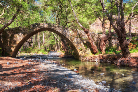 Kelefos Bridge. Most famous of the still remaining medieval bridges in Cyprus. Paphos district