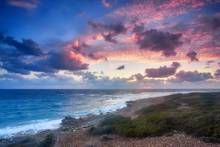 The magic of a beautiful sunset . Cyprus is an island country in the Eastern Mediterranean Sea. Cyprus is the third largest and third most populous island.