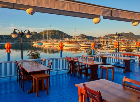 The best way to finish the day in turkish riviera is to visit one of the restaurant with a great view on mediterranean seascape, Kekova, Turkey Standard-Bild