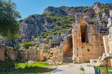 Lycian rock tombs in the ancient city of Myrrh. Turkey