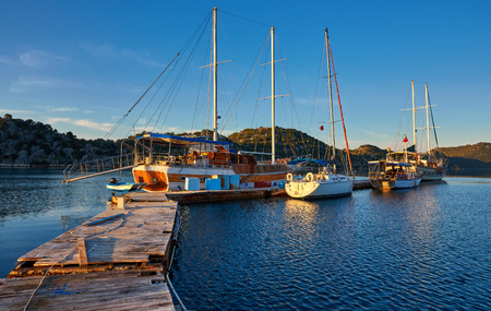 Boats and yachts, near Kekova island, Turkey 免版税图像