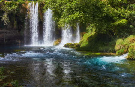 View of the waterfall Upper Duden in the city of Antalya, Turkey
