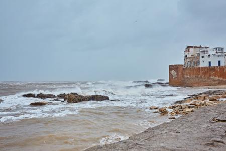 Rough Atlantic Ocean in Essaouira harbor, Morocco