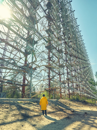 Large antenna field. Soviet radar system Duga at Chernobyl nuclear power plant.