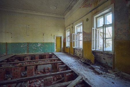 Abandoned house of culture in the village near Chernobyl
