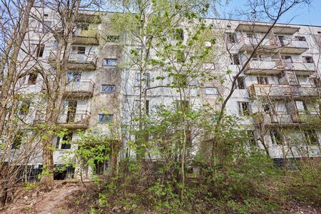 Old abandoned hospital in the city of Pripyat, Ukraine. Consequences of a nuclear explosion at the Chernobyl nuclear power plant