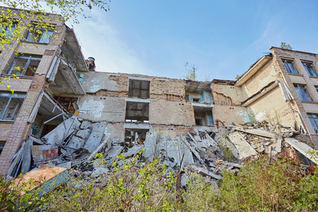 Destroyed school in the city of Pripyat, in the exclusion zone after the disaster at the Chernobyl nuclear power plant