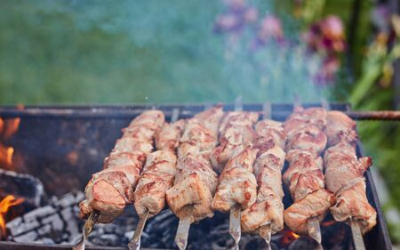 meat on skewers is roasted on a fire in nature Stock fotó