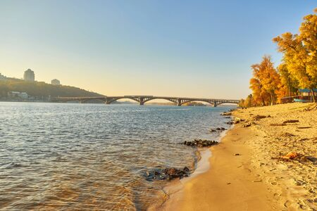 Bridge metro across the Dnieper River in Kiev. The metro train rides the bridge.