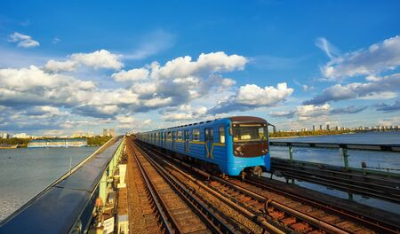 subway train goes bridge over the Dnieper in Kiev