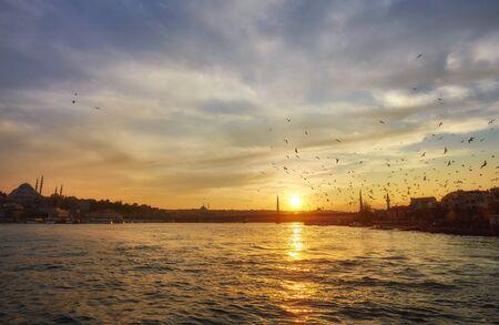 Bosporus mit einer alten Stadt auf einem Hintergrund, Istambul Standard-Bild