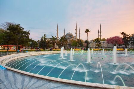 fountain on the background of the Sultanahmet Mosque