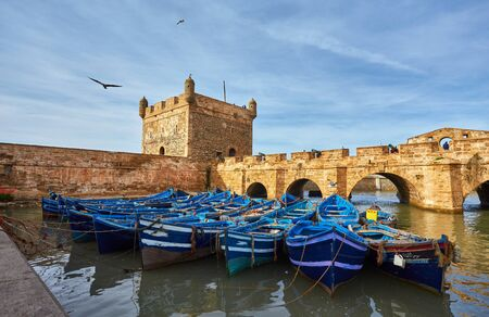 Sqala du Port, a defensive tower at the fishing port of Essaouira, Morocco