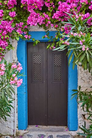 Pink Bougainvillea Flowers and Old Blue Door at Bodrum. Mugla, Turkey