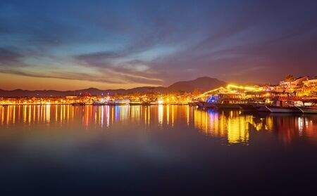 View over the beach coast of Marmaris in Turkey at dusk
