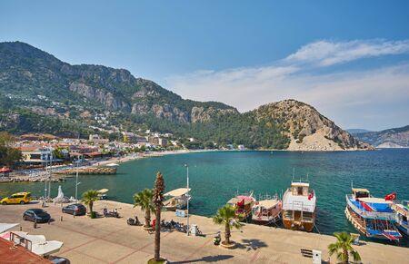 Medterranean coastline and cottage village near Turunc suburb of Marmaris resort town in Turkey.