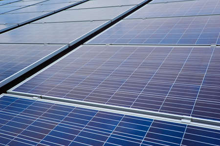 Close up solar photovoltaic panels. Technology for renewable energy solution.